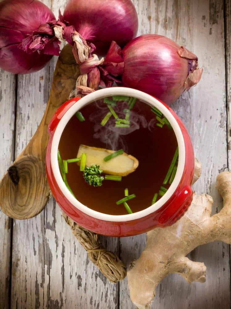 miso soup, veggies