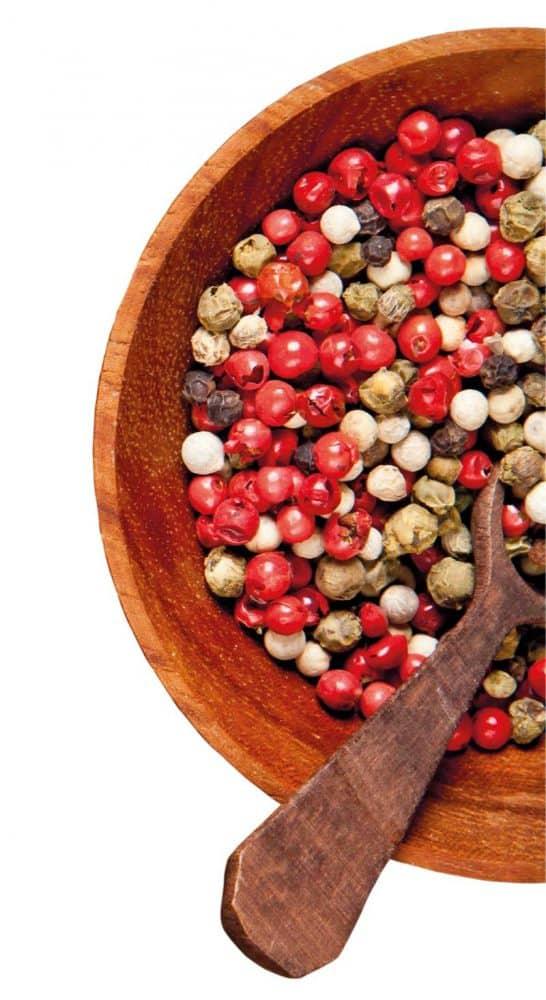 πιπέρι κόκκινο, μαύρο, λευκό, πράσινο