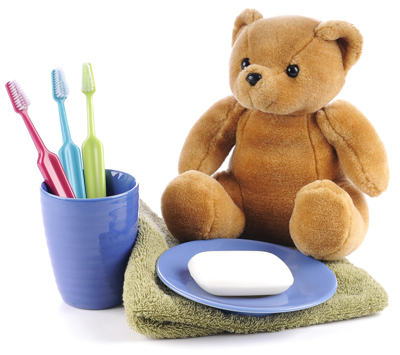teddy-bear, toothbrush, soap, towel