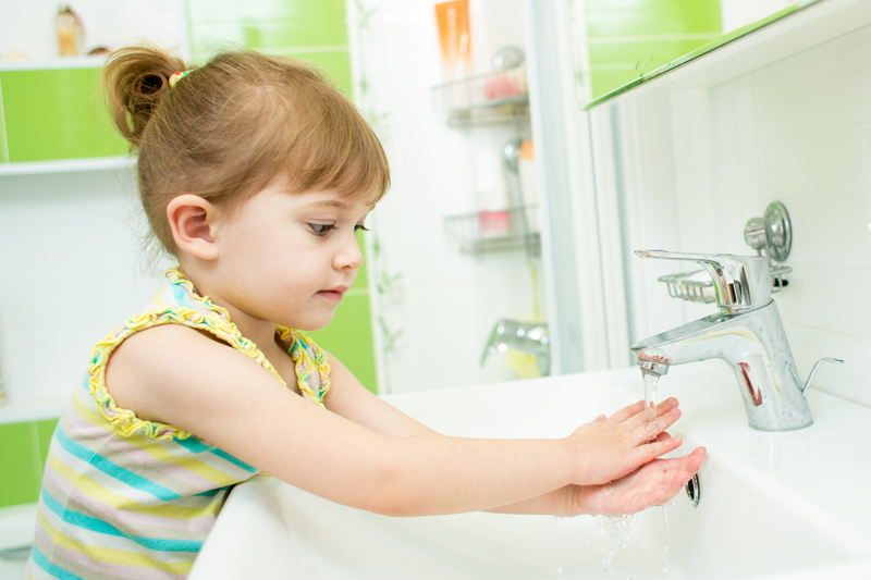 little girl-washing hands