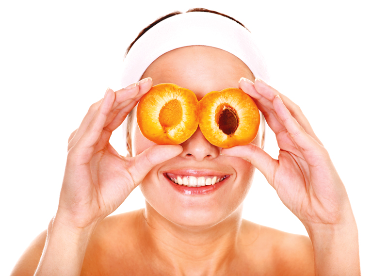 woman, apricots