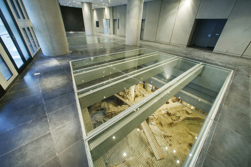 View-of-glass-windows-to-archaeological-excavation-Museum-ground-floor1