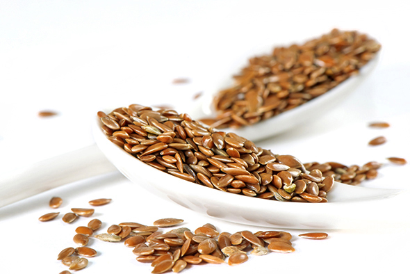 Flax seeds in spoon