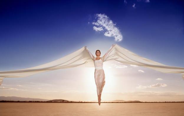 Woman levitating